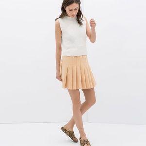 ZARA Peach Sherbet Pleated Mini Skater Skirt Large